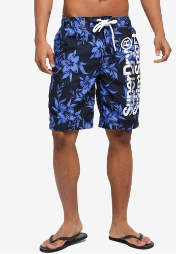 Superdry blue and navy Superdry Boardshort 857E5US45C5A09GS_1