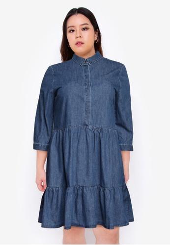 Only CARMAKOMA blue Plus Size Veronica Life 3/4 Knee Dress 296C2AA96B766EGS_1