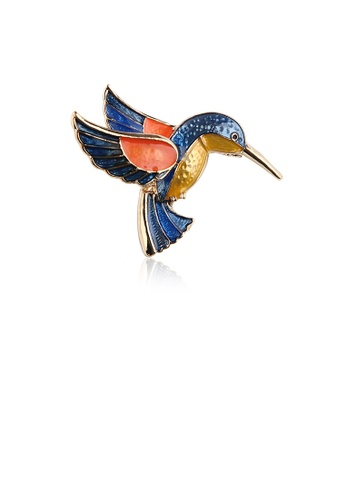Glamorousky silver Fashion Simple Plated Gold Blue Hummingbird Brooch FD530AC48AF5ABGS_1