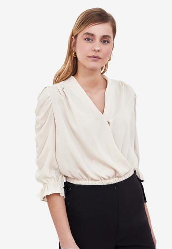 Trendyol beige Gathered Sleeve Blouse 896CFAA4356303GS_1