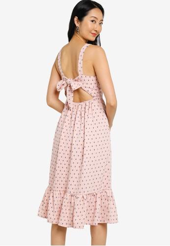 ZALORA BASICS pink Back Tie Detail Midi Dress 1C0C0AA2AB6123GS_1