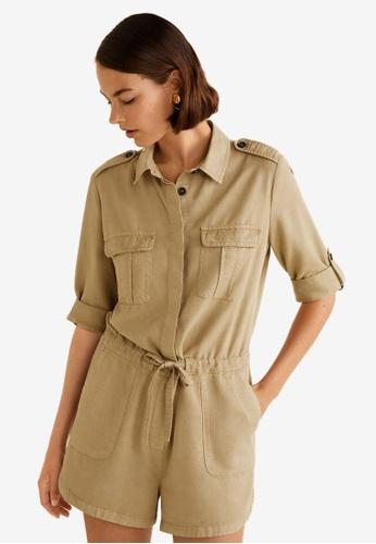Mango brown Shirt Collar Jumpsuit 568CAAA206DD6CGS_1