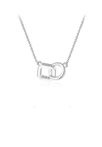Glamorousky 白色 簡約個性幾何方形圓圈項鏈配鋯石 89B79ACE42D275GS_1