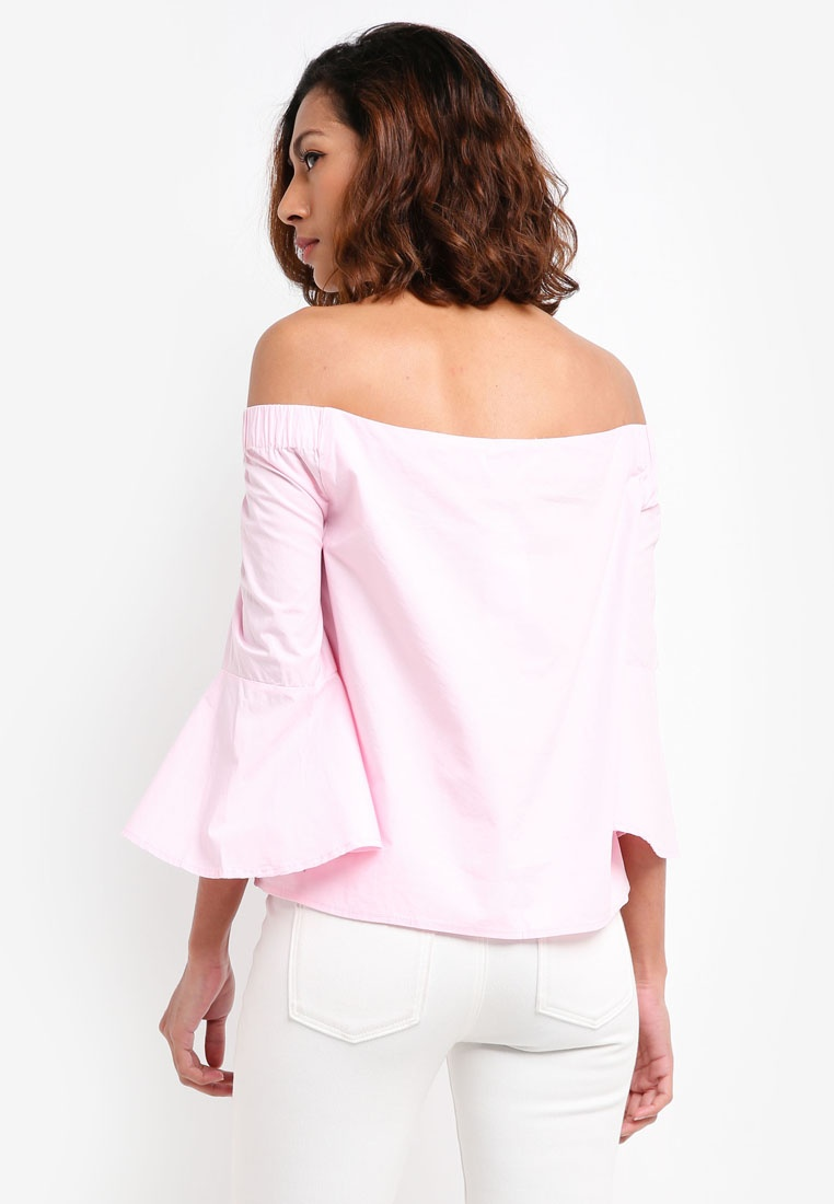 Off Lady Cotton Shoulder Abbie The On Pink Top EHz6OzqUw