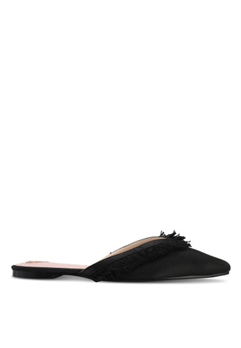 Velvet black Fringe Slip on Flats 866BBSHCE0FDD4GS_1
