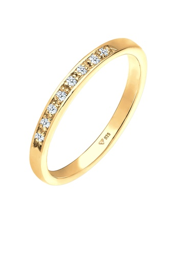 ELLI GERMANY white Ring Stick-on Ring Sparkling Diamond (0.04 ct) Gold plated F6B3DACFECAE51GS_1
