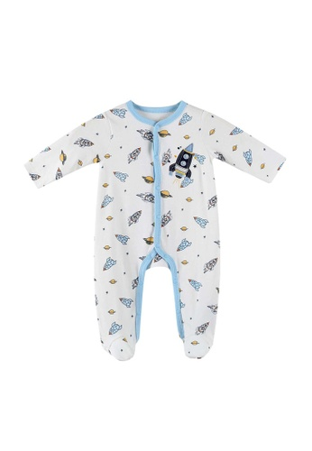 Little Kooma white Baby Embroidered Rocket Button Sleepsuit All In One Jumpsuit 17F9DKAB9068C0GS_1