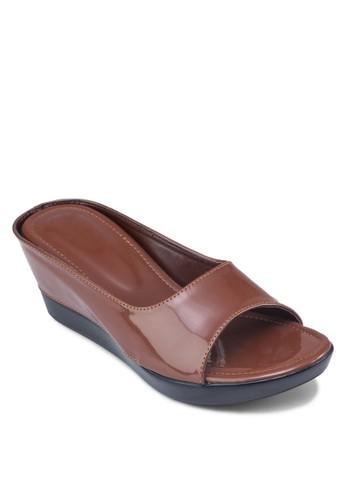 漆皮厚底楔esprit台灣形涼鞋, 女鞋, 楔形鞋
