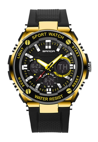 SANDA gold SANDA 733 Waterproof Outdoor Multifunctional Sports Men's Quality Shockproof Digital Watch (Gold) SA708AC0RXC1MY_1