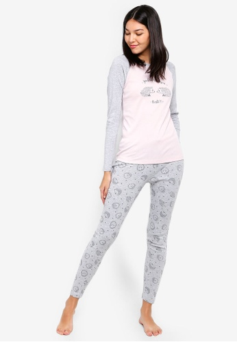 OVS grey and pink Cotton And Viscose Patterned Pyjamas 3055CAAE27D34BGS_1