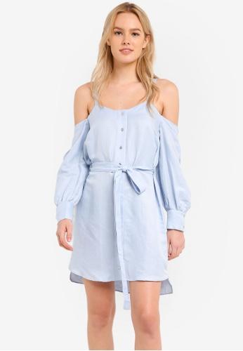 River Island blue Elizabeth Cold Shoulder Dress RI009AA0RHOQMY_1
