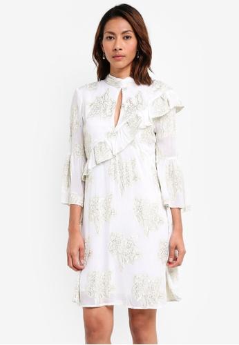 Miss Selfridge white Floral Lurex Smock Dress D4735AAF807158GS_1