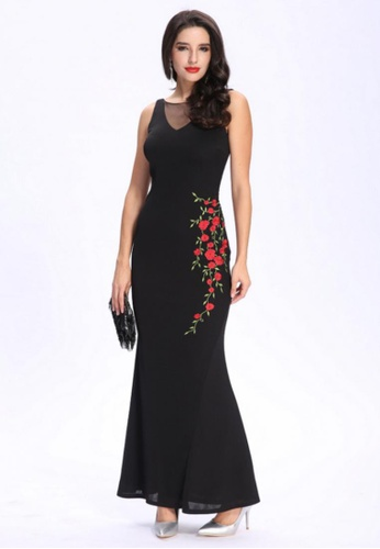 Buy Anne F Cny Collection Sheer Tulle Japan Jersey Embroidered