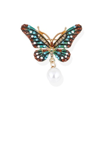 Glamorousky white Elegant and Bright Plated Gold Color Butterfly Imitation Pearl Brooch with Cubic Zirconia 4338BAC72D6370GS_1