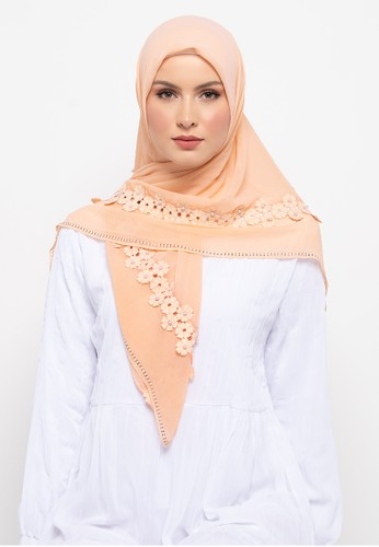 KASHKHA orange Hijab Lace PearlsWith Stone Scarf By Kashkha/S18SHBAHJBKGR2552-Light Orange 97C99AA9541B86GS_1