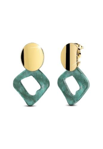 Bullion Gold gold BULLION GOLD Aqua Stone Drop Gold Layered Earrings 3B4EDAC1ED59E2GS_1
