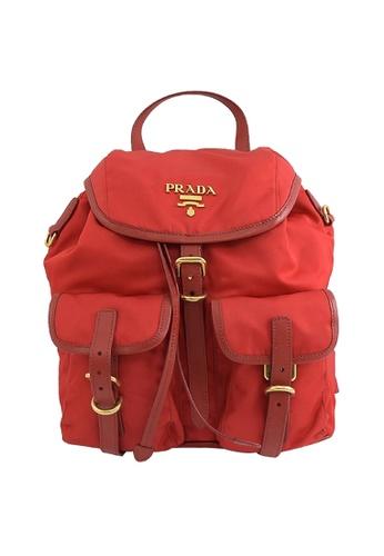 Prada red Prada Rosso Tessuto Nylon Calf Leather Backpack With Gold Tone Hardware 1BZ677 290E5ACD11F62AGS_1