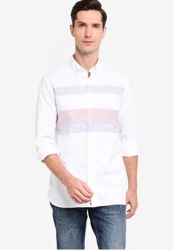 Tommy Hilfiger 白色 修身Flag 襯衫 4FF2BAA5327C6EGS_1