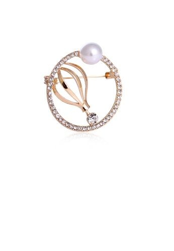 Glamorousky white Fashion and Simple Plated Gold Geometric Round Floral Imitation Pearl Brooch with Cubic Zirconia 153D7AC3D7537BGS_1