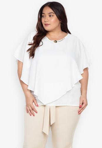 4f6c0b35c0e9 Shop Divina Plus Size Overlay Blouse With Necklace Online on ZALORA ...
