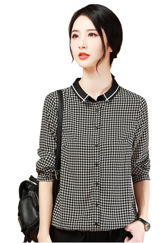 A-IN GIRLS black and white Vintage Black And White With Chiffon Blouse CF03BAAEA0084AGS_1