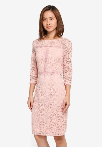Wallis pink Blush Detailed Lace Shift Dress D2022AA9A17BCEGS_1
