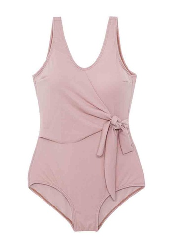 ZITIQUE pink Women's Solid Color Ribbon One-piece Swimsuit - Pink BF084US4D71AEDGS_1