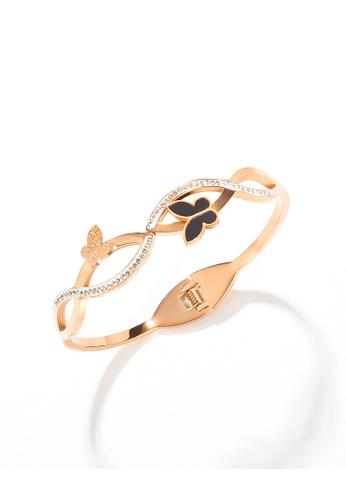 YOUNIQ YOUNIQ MYRA 18K Rosegold Titanium Steel Butterfly Bangle with Cubic Zirconia E33BDAC1548B83GS_1