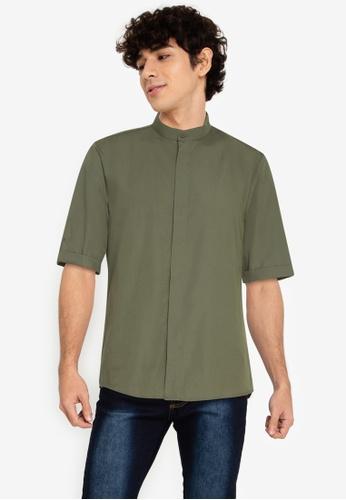 ZALORA BASICS green ¾ Sleeve Grandad Shirt E5C00AA8DDFEBFGS_1