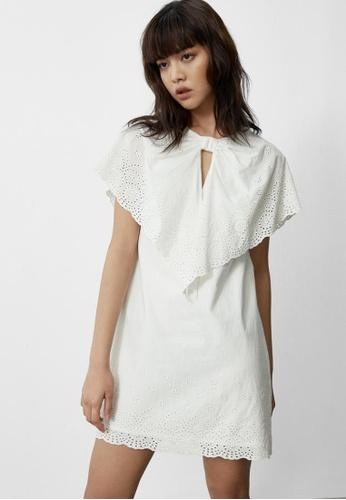 Pomelo white Eyelet Neck Accent Dress - White B6418AA648453EGS_1