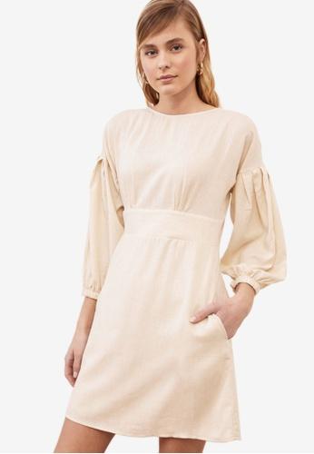 Trendyol beige Poplin Sleeve Dress 7A676AACCB130FGS_1