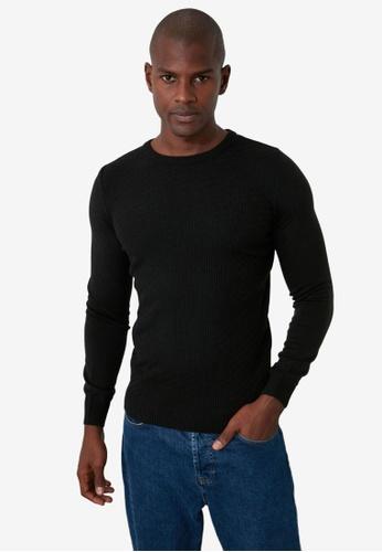 Trendyol black Crew Neck Textured Sweater F6A20AA6D89ECCGS_1