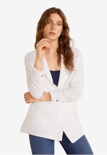 Mango white Linen Blazer Suit D8EB1AACB15A9AGS_1