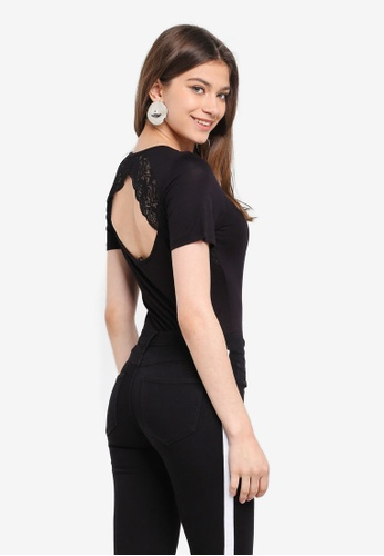 ONLY black Vic S/S Lace Top F6529AADFDC747GS_1