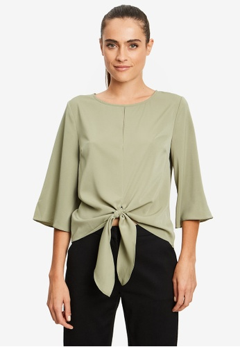 REUX green Veronica Tie Front Top 466C0AA4B142ABGS_1