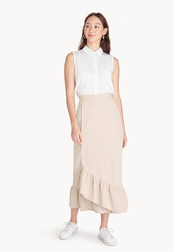 Pomelo beige Midi Buttoned Up Mermaid Skirt 24825AA8530D9CGS_1