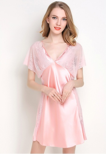 Buy SMROCCO Silk Lace Sleepwear Nightie L7018-PI Online  a9acab7c1