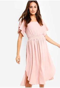 bc6fdb1275 ZALORA pink Ruffle Midi Dress D06B4AA697022AGS 1