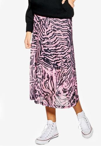 baby cheap for sale best online Pink Zebra Mesh Midi Skirt