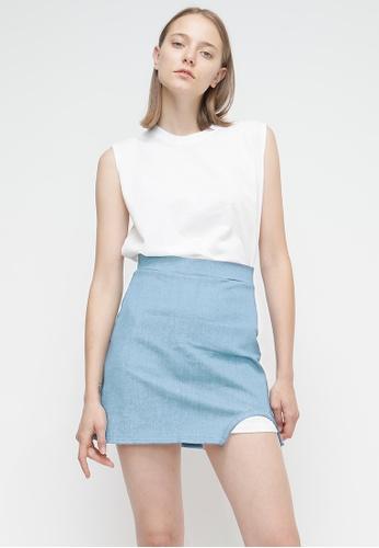 OUTSTANDING ORDINARY blue Half Skirt OU203AA38BUBSG_1