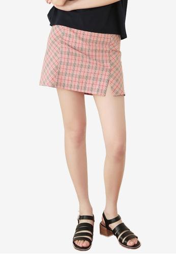 NAIN pink Check Mini Skirt 39D33AAAE12568GS_1