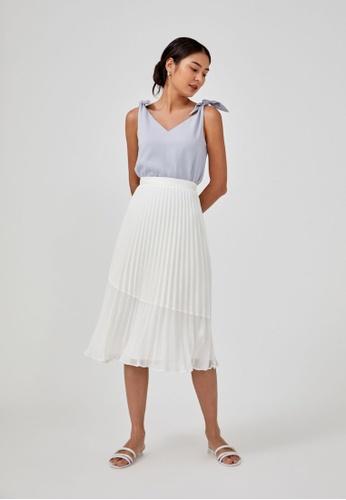 Love, Bonito white Sophia Pleated Midi Skirt CC1E3AA175ACD4GS_1