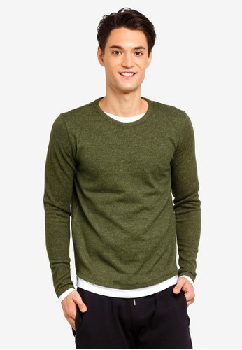 Brave Soul green Mock Layer Jumper A5E1AAA0634EF3GS_1