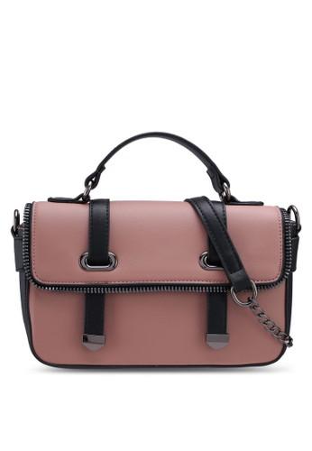 Unisa pink Faux Leather Colour Block Top Handle Bag 7B8D8ACBB66A2FGS_1