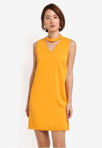 ZALORA yellow High Neck Detail Dress 8698FAA0749722GS_1