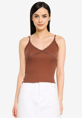 Hollister brown Lace Bust Cami Top BD2A3AAA3390A4GS_1