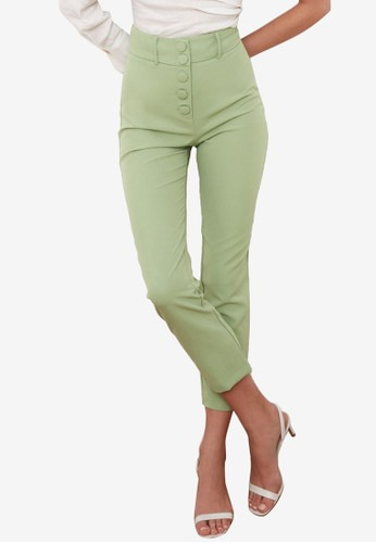 Trendyol green High Waist Buttons Detail Trousers 14AF8AABEA63A0GS_1