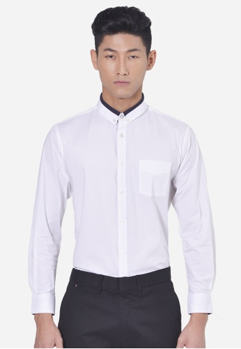 Private Stitch white Basic Shirt With Regular Cutting And  Small Collar Detail PR777AA73LREMY_1