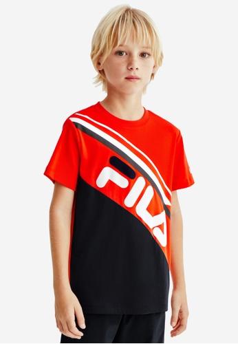 FILA red FILA KIDS Slash FILA Logo Color Blocks T-shirt 8-13yrs 81DB8KA617A758GS_1