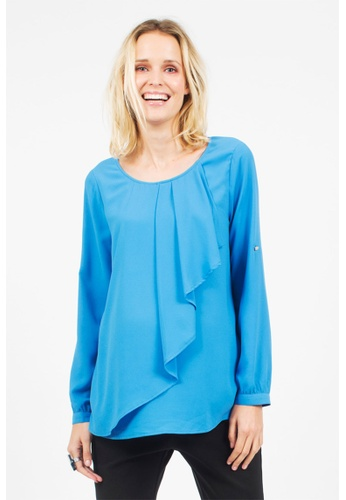 Bove by Spring Maternity blue Allyson Woven Long Sleeves Draping Top Blue ITN5501 BO010AA0FBR9SG_1